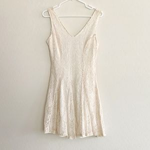 Bar III Ivory Lace Fit Flare Skater Dress - Size M